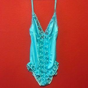 Vintage silky lace lingerie one piece